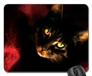 Black Cat's Eyes Cute Cool Decorative Design Animal Cat Mousepad Rainbow Designs