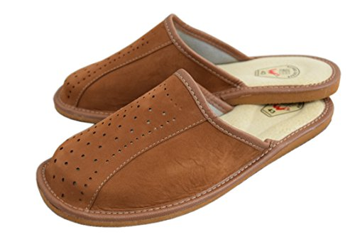 Natleat Slippers Natural Leather Mens Slippers Mules Brown / 4 3BvSLrH