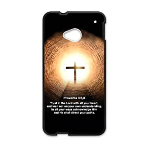 Canting_Good Jesus Christ cross and Bible verse Custom Case Shell Skin for HTC One M7(Laser Technology)
