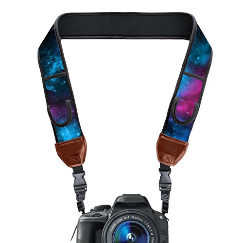 TrueSHOT Camera Strap with Galaxy Neoprene Pattern and Accessory Storage Pockets by USA Gear – Works With Canon , Fujifilm , Nikon , Sony and More DSLR , Mirrorless , Instant Cameras