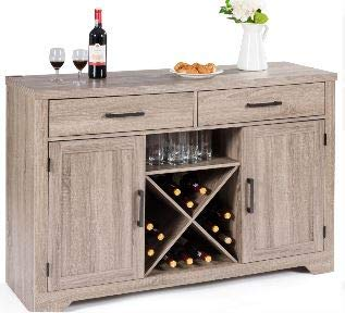 Sideboard Buffet Storage Cabinet- Showcase Your Home Decor While Meeting Your Storage Needs-Color Weathered Wood with Cabinets Drawers Wine Rack (Wine Rack Furniture 36')