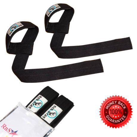 Weight Lifting Straps including Wrist Support Rubber Padding For Bodybuilding, Weightlifting, Xfit, Powerlifting, MMA - Premium Quality Cotton Material -1 Pair