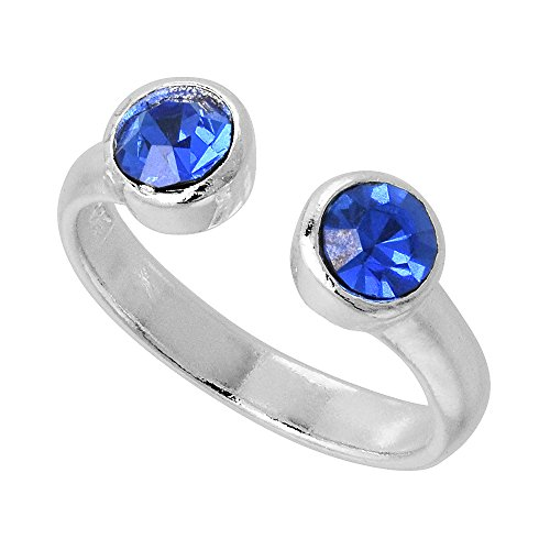 Sapphire colored September Birthstone Adjustable Silver