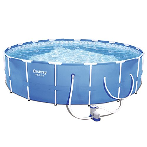 Bestway Steel Pro 12 x 12 Foot Frame Above Ground Swimming Pool with Filter Pump