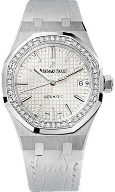 Audemars Piguet Royal Oak Automatic Diamond Silver Dial White Leather Ladies Watch 15451ST.ZZ.D011CR.01