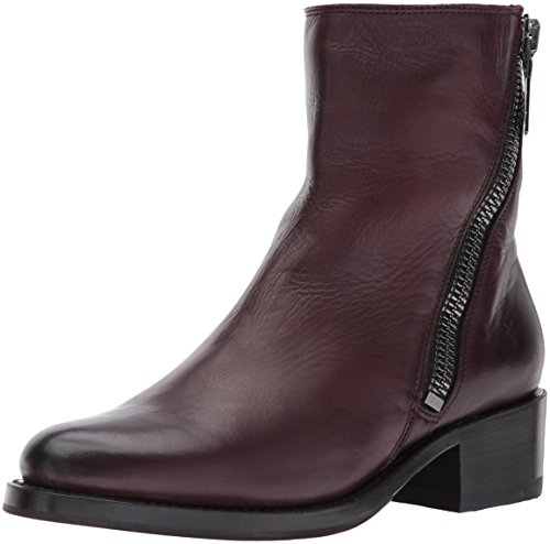 FRYE Women's Demi Zip Bootie Boot, Wine Polished Soft Full Grain, 8 M US