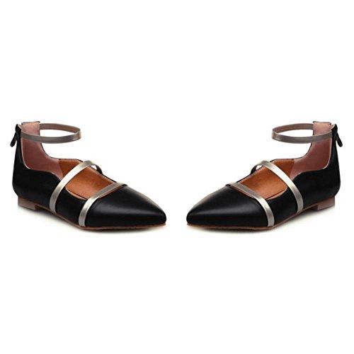 FANIMILA Mujer Moda Dedo Del Pie Cerrado Tacon de vaquero Zapatos Stylish Cremallera Zapatos for Chicas Negro