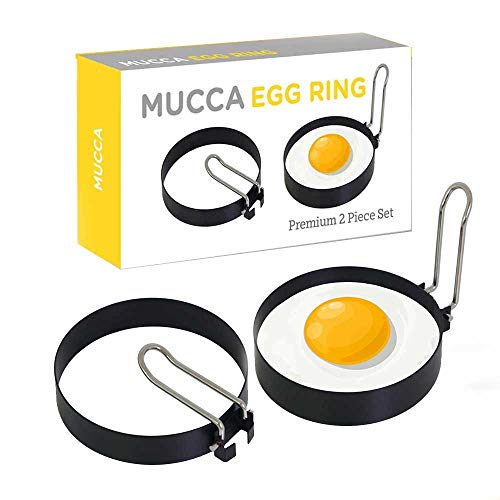 Egg Ring | Egg Poacher | Egg Mold | Pancake Mold | Premium 2 Piece Set | Poached Egg Maker | Non Stick | Stainless Steel | Durable | Professional Grade Quality