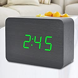 LED Wooden Clock Electronic Digital Desktop Time Temperature Calendar Classic Home Bedroom Bedside Travel Alarm Clock with Sound Control Function (Black Wood Green Light)