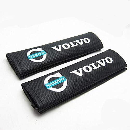 Polestar v60 XC90 S40 V70 XC70 Carbon Fibre Effect Seat Belt Shoulder Cover Pads Bl//Gn