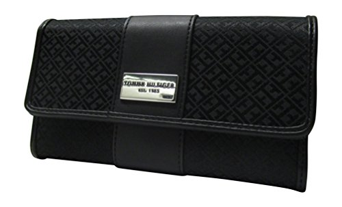 - Tommy Hilfiger Womens Continental Wallet Monogram Fabric Large Wallet TH (Black Tonal)