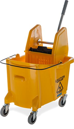 Down Press Wringer - Carlisle 3690504 Commercial Mop Bucket with Down Press Wringer, 35 Quart Capacity, Yellow