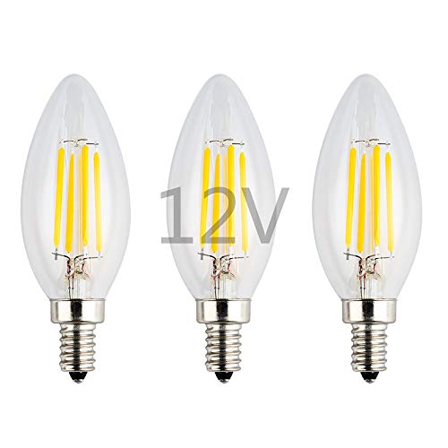 OPALRAY 12V-24V Low Voltage LED Candelabra Bulb, 4W Dimmable with DC Dimmer, Warm White Light, E12 Small Base, 40W Incandescent Replacement, 12V AC/DC Operated, Clear Glass Torpedo Tip, 3 ()