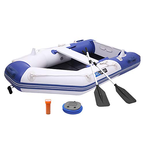 - PEXMOR 7.5ft Inflatable Dinghy Boat 0.9mm PVC Sport Tender Fishing Raft Dinghy with Trolling Motor Transom,Full Floor and Fishing Rod Holders - Fit 2 People (Blue)