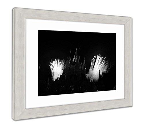 Ashley Framed Prints Fireworks Over The Carousel At Magic Kingdom Orlando Florida, Wall Art Home Decoration, Black/White, 30x35 (frame size), Silver Frame, (Silver Cinderella Frame)