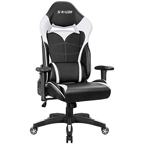 Homall Gaming Chair Racing Style High-Back Office Chair Seat Height Adjustable Computer Chair PU Leather Desk Chair Ergonomic Tilt E-Sports Chair with Headrest and Lumbar Support (White) Homall