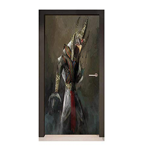 Eagle Door Wallpaper Egyptian Culture Inspired Holy Figure from Mythological Fantastic Character for Home Room Decoration Brown Multicolor,W23.6xH78.7 -