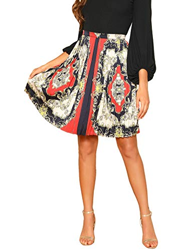 WDIRARA Women's Vintage Scarf Print Pleated A Line Flare Skirt Multicolor M