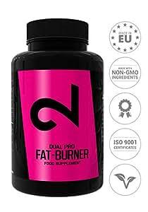 DUAL Pro Fat-Burner|Adelgazar Sin Deporte|Quemador de Grasa Para Mujeres y Hombres|Suplemento Alimenticio Para Pérdida de Peso|100 Cápsulas Sin Aditivos,100% Natural, Vegano y Sin Gluten|UE
