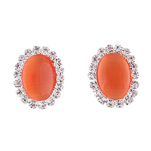 Bridal Rhinestone Opal Oval Shape Clip on Earrings for Women Charm Jewelry No Hole Ear Clip (Orange)