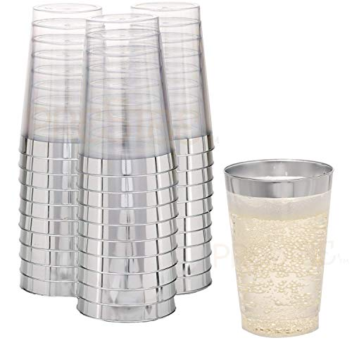 (Disposable Plastic Tumbler Cups | 12 oz - 50 Pack | Elegant Clear Cups with Silver Rim | Fancy Wedding Party Cups | Ideal for Champagne, Soft Drinks, Cold Beverages, Wine & More! [Drinket Collection] )