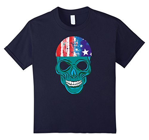 Zombie Military Costume (Kids Scared Zombie Skull Funny Halloween Costume Shirt 12 Navy)