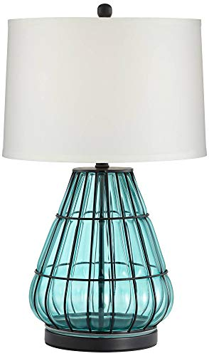 (Jaylin Metal Cage and Aqua Glass Table Lamp)