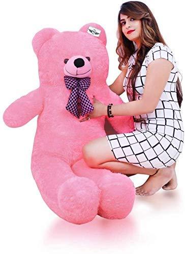 ATIF Soft Toys Long Soft Lovable hugable Cute Giant Life Size Teddy Bear 3 Feet 90 cm Pink for Wife/BOY Girl