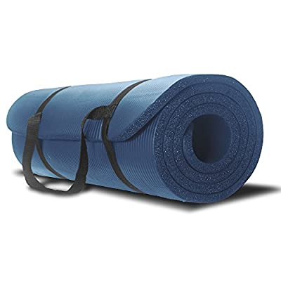 Yoga Mat - Best Premium Thick Exercise Mat - Great for Aerobic and Pilates - Use At Home and Gym - With Strap Carrier - For Man and Woman - No Hassle 1 Year Guarantee