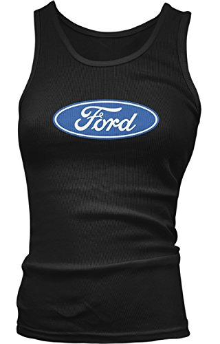 Amdesco Junior's Ford Logo, Officially Licensed Design Tank Top, Black XL
