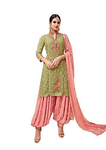 (STELLACOUTURE Indian/Pakistani Ethnic wear Heavy Georgette Patiala Salwar Kameez 3503 (Green, M-40))