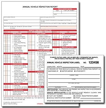 3-Ply Carbonless 20 Annual Vehicle Inspection Stickers /& 20 Inspection Reports
