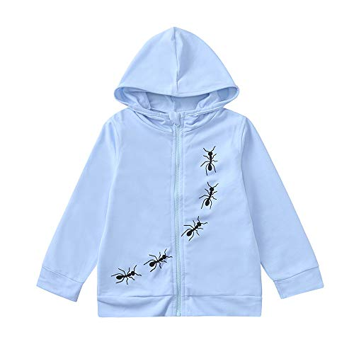 Kids Coat Unisex,Fineser Fashion Toddler Kids Baby Boys Girls Cartoon Ants Print Hooded Tops Sport Coat Shirt Tracksuit Clothing (Blue, 3-4 Years(120)) (Suits And Sportcoats)