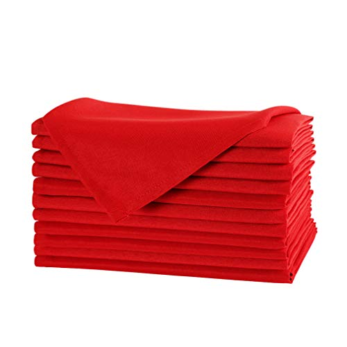 E-TEX 17 x 17-Inch Napkins, 100% Polyester Washable Cloth Napkins,Set of 12, Red