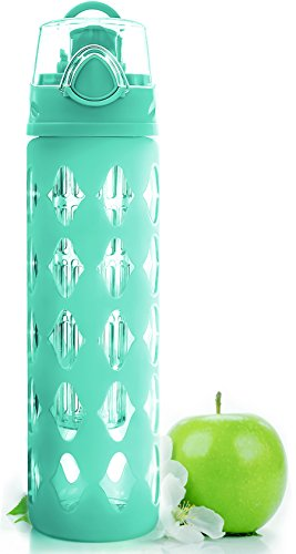 Glass Water Bottle Fruit Infuser with Silicone Sleeve