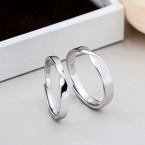 TIDOO Jewelry 925 Sterling Silver Simple Couples Rings Turn Around 180/°Ring