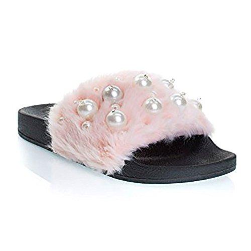 Soda Kvinners Fuzzy Flatform Tøffel Uformell Bad Utendørs Furry Creeper Sandal Rosa Eyaball