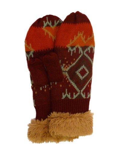 Muk Luks Lukees Rust Red Geometric Print Knit & Fur Mittens