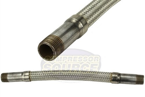 1/2'' x 12'' Stainless Steel Compressed Air Line Metal Flex Hose Tubing by Unknown (Image #1)