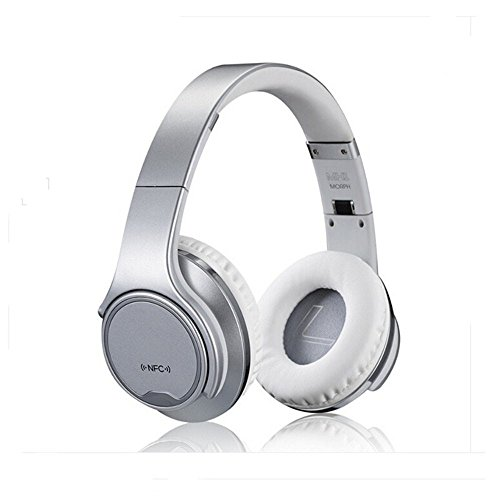 WearPai Bluetooth Headphones Over-Ear 2 in1 Foldable Wireless Headphones with Twist-out Speaker Stereo Headset Hi-Fi Stereo Headset with High-Resolution Audio (Silver)