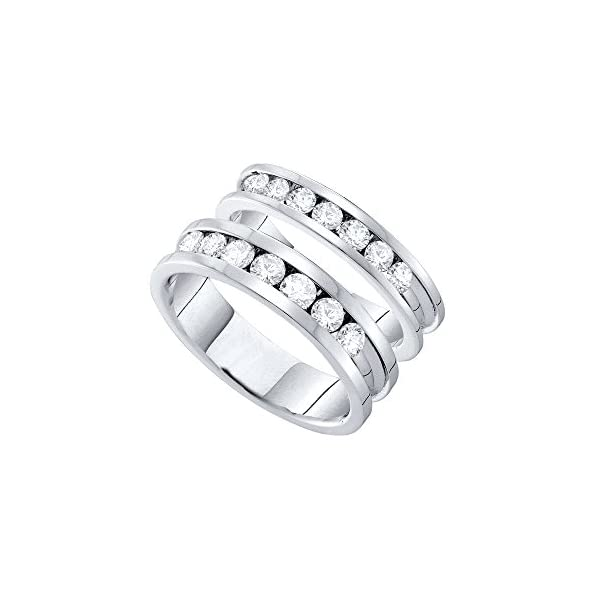 14kt-White-Gold-His-Hers-Round-Diamond-Matching-Bridal-Wedding-Band-Set-1-12-Cttw-155-Cttw-I1-clarity-H-I-color