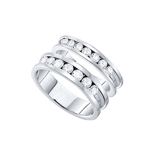 14k White Gold Round Diamond Matching Comfort-fit Womens Mens His Hers Wedding Band Set (1.50 cttw.) (I1) by Mia's Collection
