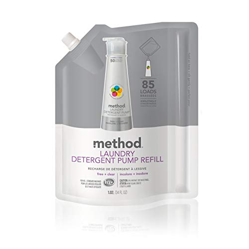 (Method Laundry Detergent Refill for Pump Bottles, Free + Clear, 34 Ounce, 85 Loads)