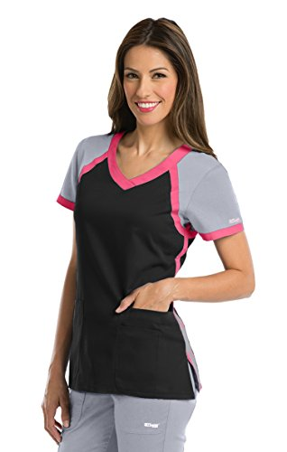 Active by Grey's Anatomy Women's Tri-Color V-Neck Solid Scrub Top Medium Black/Moonstruck/Coral Crush