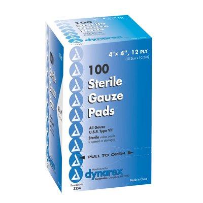 Dynarex Gauze Pads, Sterile, 1's, 4x4, 12-ply, Box/100 by Dynarex