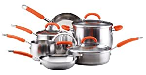 Rachael Ray Cookware Set, Stainless Steel, 10-Piece