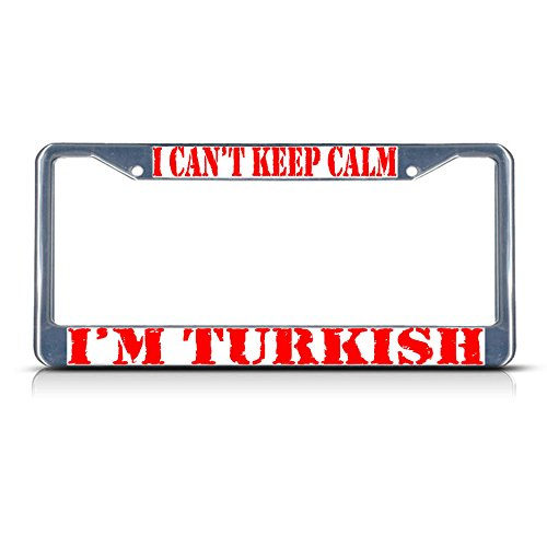 'm Turkish Metal License Plate Frame Tag Border Two Holes Perfect for Men Women Car garadge Decor ()