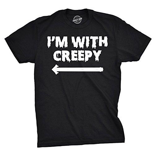 I'm With Creepy T Shirt Funny Halloween Trick Or Treat Costume Parody Tee (black) M ()