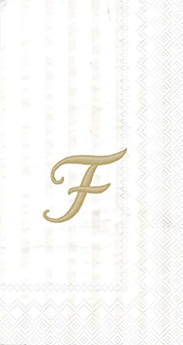 Ideal Home Range 3-Ply Paper Ivory Monogram, 16 Count Guest Towel Napkins Letter F, Set of (Monogram Paper)
