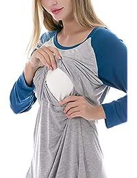 Smallshow Women's Maternity Nursing Nightgown Breastfeeding Sleepwear Dress